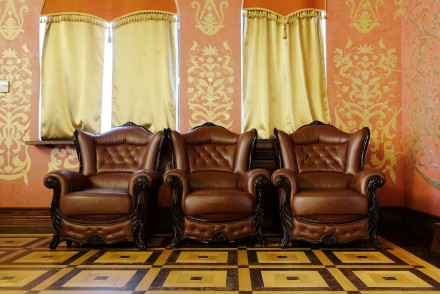 brown leather chairs